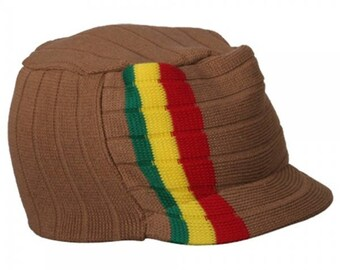 Rasta Hat Khaki/ Red, Gold, Green stripe #39