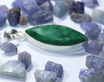 Solid-Sterling-Heated Emerald Marquise Shape Green Colour 37x15 mm-Gemstone-Pendants