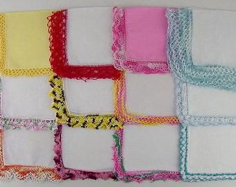 Vintage Hanky Lot of 1 Dozen Assorted Vintage Hankies Handkerchiefs (Lot #J2)