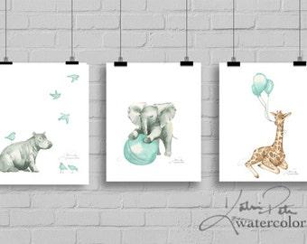 Nursery animals with balloons print set. Baby hippo, elephant and giraffe wall art, safari prints, giraffe nursery, baby shower gift