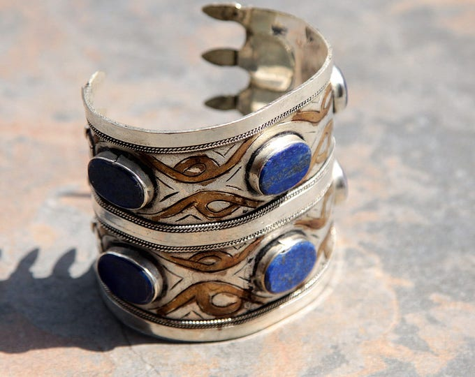 BRACELET (1pc) Turkoman Tribal Real LAPIS Gold Plated BellyDance 501a3