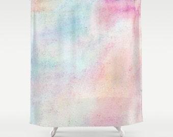 Pastel Shower Curtain, Abstract Bath Curtain, Pretty Bathroom Decor