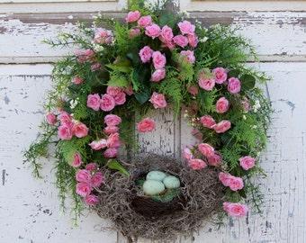 Nest Wreath, Spring Wreath, Mother's Day Wreath, Natural Looking Wreath, Roses Wreath, Romantic Wreath, Bird's Nest Wreath, Cottage Wreath