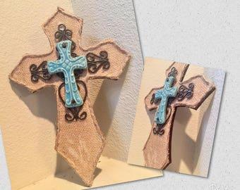 wooden cross, burlap layered cross, ceramic layered cross, teal, brown, home decor, housewarming gift
