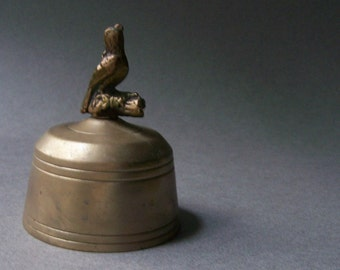 Vintage  Brass Bell ~ Bird on Branch Handle