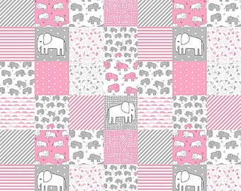 Elephant Baby Quilt, Baby Girl Bedding, Baby Girl Quilt, Patchwork Baby Quilt, Minky Baby Blanket, Pink Gray Grey, Nursery Bedding, Modern