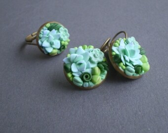 Earrings and ring with polymer clay succulents, Succulent jewellery, Flower jewelry, Succulent earrings, Succulent ring