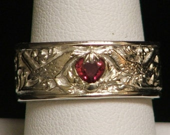 William Morris Inspired Bird and Strawberry Ring with Red Sapphire Strawberry Size 8 1/2-Ready to Ship