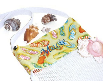 Personalized Beach Bag, Embroidered Name, Mesh Seashell Collecting Bag, Custom Name, Mesh Tote Bag, Flip Flop Beach Bag, Gift For Her