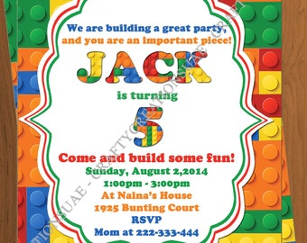 Building Blocks Invitation - Bricks Birthday Invite- Colorful Blocks Birthday Party Invitation - Printable Blocks Party Invite - CraftyUAE