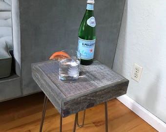 Gray Barnwood End Table with Hairpin Legs - modern - rustic -reclaimed