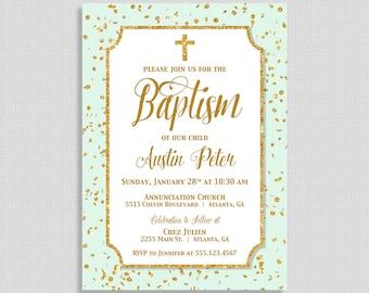 Mint Baptism Invitation,  Mint & Gold Glitter Confetti Baptism Invite, Christian Baptism Invite, Neutral Christening, DIY PRINTABLE