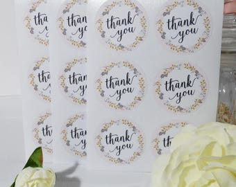 4 sheets of 6 floral Thank You stickers