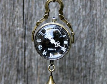 Double Sided Glass Black Bubble Pocket Watch with 28 Inch Brass Curb Chain