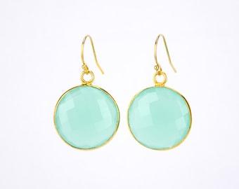 Aqua Chalcedony earrings, Gold earrings, Bridesmaid earrings, Gold Framed Stone, Gift For Her Round Stone earrings March birthstone earrings
