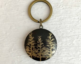 Forest Locket Keychain, pine tree locket, outdoors gift, travel gift, camping gift, tree locket key chain, pine tree keychain, man locket