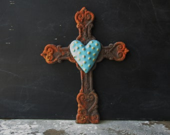 Rustic cast iron cross faux rust aqua gold dotted heart wall hanging metal cross Spiritual Divine Religious Rustic decor small cross SMR4
