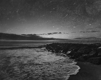 Galaxy Beach - Black & White Digital Photographic Print, Asbury Park Beach, Fine Art Photography, Wall Art, Home Decor, Dark