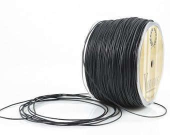 1mm BLACK WAXED COTTON - Black Wax Cotton String (1mm diameter) sold by 5m length