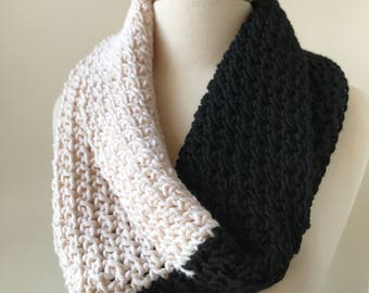 BLACK And IVORY Siena Merino Wool Hand Knit Infinity Scarf Shoulder Wrap, Neckwarmer, Snood, Shawl, Women's, Chunky, Hygge, Winter, Cozy