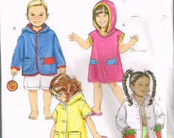Size 2-5 Girl or Boy Beach Cover Up Sewing Pattern - Hooded Jacket Pattern - Sleeveless Jacket - Sewing For Children - Butterick B4502