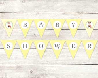 baby shower banner printable DIY bunting banner fox yellow grey gender neutral polka dots hanging banner digital triangle - INSTANT DOWNLOAD