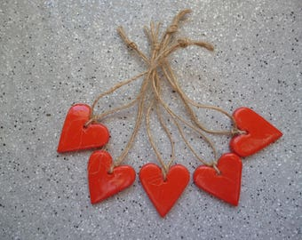 Set of 5 hearts in polymer clay handmade hanging Christmas tree Christmas ornament, holiday