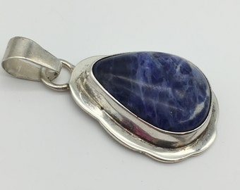 Vintage Signed Taxco Mexico Sterling Silver & Pear Shaped Sodalite Pendant