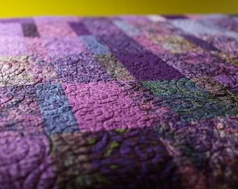 Queen Size Quilt Modern Quilts Custom Made Purple Quilt Handmade Queen Quilt Fiber Art Bed Quilt Minimalist Quilts Modern Queen Quilts