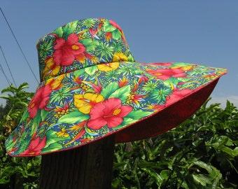 Wide Brim Sun Hat Red Tropical Print