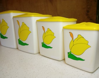 Vintage Yellow Tulip Canisters