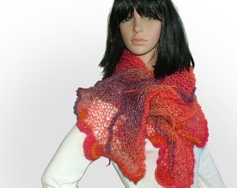 Freeform Knitted Scarf Shawl Wrap Stole with OOAK freeform crochet motifs & glass beads, in Orange, Bright Pink, Purple shades