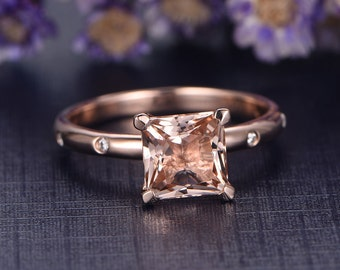 Morganite engagement ring with moissanite,Solid 14k White gold,promise ring,7mm princess cut wedding ring,custom made fine jewelry,prong set