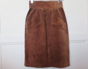 Yves Saint Laurent YSL caramel suede pencil skirt, size 36