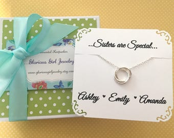 3 SISTERS NECKLACE Gift for Three Sisters Jewelry Sterling Silver Connected Circles Sister Gift Sister in Law Bridesmaid Gift for Sisters