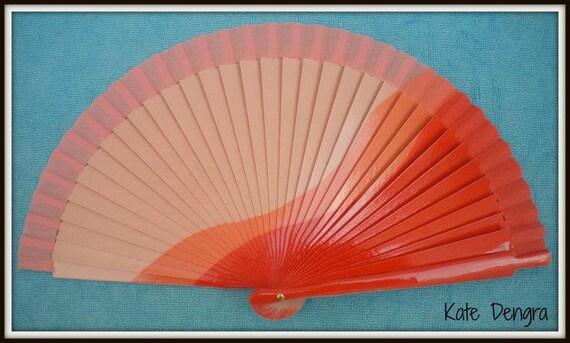 Three Tone Orange Design Spanish Hand Fan Limited Edition