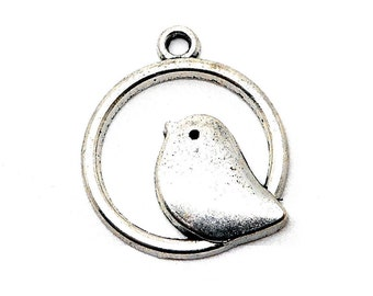 Bird charm round silver color
