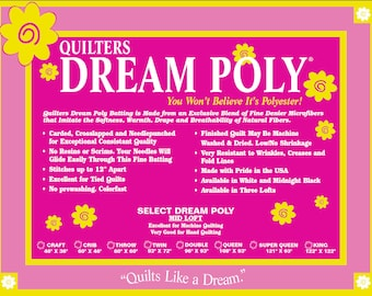 Batting Quilters Dream Poly Select  Mid Loft Sampler Pack  Quilt Stuffing Machine Quilting