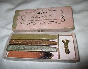 Vintage MURA Sealing Wax SET ! Awesome 4 Wax Set with SEAL in Awesome Vintage Condition!