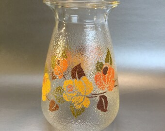 Mid Centruy Modern Textured Floral Glass Vase Vintage Clear