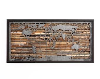 Wood wall art, World map artwork made of old barnwood and natural steel, Globe
