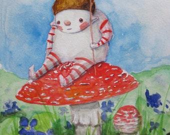 Original Watercolor Painting - Amanita Mushroom Creature - Pondering Cutie