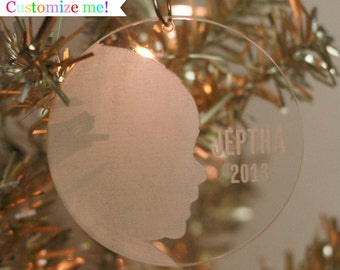 Personalized My First Christmas Custom Silhouette Ornament made from your photo by Simply Silhouettes