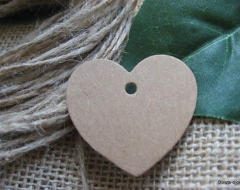 10 small labels Brown kraft cardboard heart shaped tag