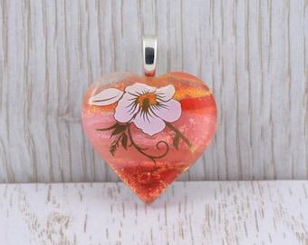 Fused Glass Pendant - Peaches and Cream Heart - Dichroic Glass Heart - Heart Pendant - Pendant - Fused Glass Jewelry JBT545