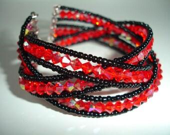 Swarovski crystal beads bracelet in black and red