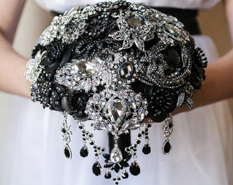 Black Brooch Bouquet Wedding Bouquet, Silver Bouquet, Bridal Bouquet, Bridesmaids Bouquet, Broach Bouquet Black Bouquet, Custom Bouquet