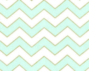 QUILTING COTTON: Michael Miller Chic Chevron in Mist. Sold by the 1/2 yard