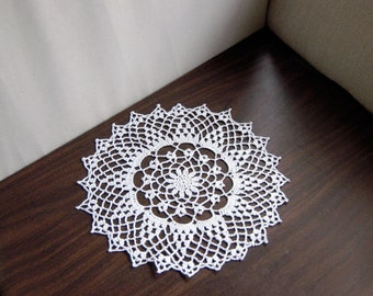 White Lace Flower Crochet Doily, Cottage Chic Home Decor, Elegant Table Decoration, Wedding Gift, 12 Inch Doily