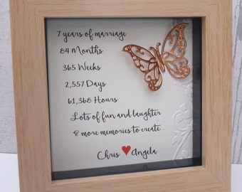 7th wedding anniversary gift, copper anniversary gift, 7th copper anniversary, 7 year anniversary present,7th anniversary,personalised frame
